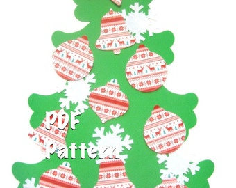 Kid-size Wall Felt Christmas Tree and Ornaments PDF Pattern