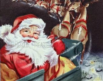 Retro Santa Sleigh and Reindeer Christmas Card #200 Digital Download