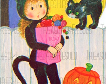 Girl Trick or Treating Pumpkin Jack O Lantern Black Cat Halloween Card #560 Digital Download