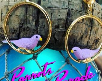 Retro Novelty Parrot Bird Hoop Earrings, Parrots on Parade, Bridesmaid Gift