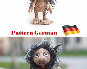ebook GERMAN crochet tutorial, Amigurumi Pattern Goblin doll, crochet doll handmade, art doll elf, monster, toy troll, fairytale characters