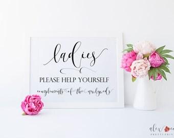Ladies Bathroom Printable. Ladies Room Sign. Wedding Bathroom Basket. Help Yourself Sign. Bathroom Basket Sign. Wedding Restroom Basket.