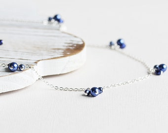 Royal Blue Necklace - Dark Blue Necklace with Silver Plated Chain, Blue Pearl Necklace, Blue Bridesmaid Necklace, Dainty Wedding Jewelry