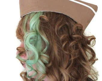 Army Hat - Military Cap - Wedge Cap - Vintage Style Hat - Pin Up Hat - Pinup Cap - Flight Hat - Garrison Cap - Steampunk Hat - Tan Hat