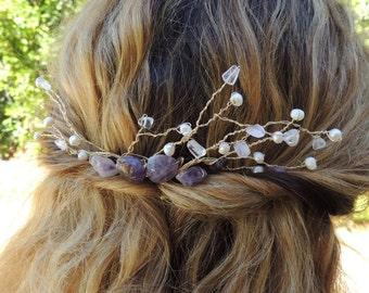 Custom Bridal / Formal Hair Comb Accessory Amethyst