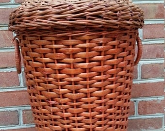 Wicker Pagoda Laundry Hamper Toy Storage Laundry Basket vintage