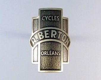A BERTON headbadge. Cyclist present. cyclist ornament. biker gift. cyclist gift. bicycle ornament. custom. headbadge. head badge.