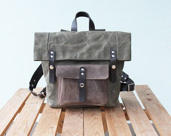 Woman backpack , waxed canvas backpack, waxed canvas rucksack, olive
