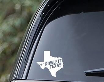Rowlett Texas State Sticker For Car Window, Bumper, Or Laptop