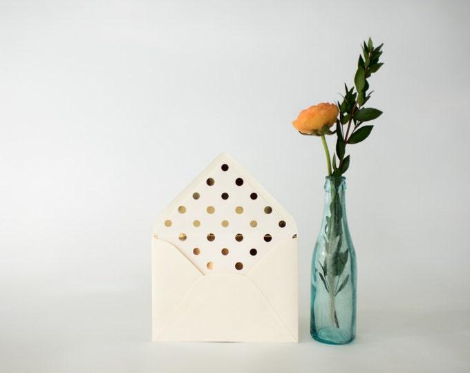 large gold foil polka dot lined envelopes (sets of 10)  // lola louie paperie
