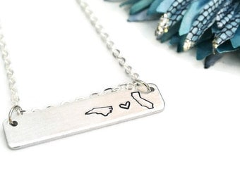 Long Distance Relationship Hand Stamped Necklace | Aluminum Necklace | Long Distance Girlfriend Gift | Long Distance Best Friend Gift