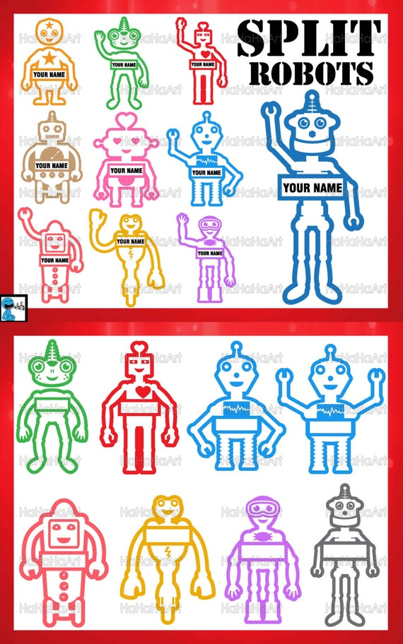 items similar to split cool robots color monogram