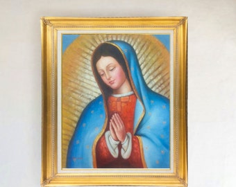 Lady (Virgen) of Guadalupe Oil Painting on Stretched Canvas, 20 X 24 Stretched Only or Framed in Gold or Copper Frame Mexican Art