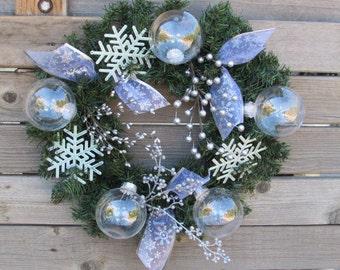 "15"" Christmas Wreath ChristmasDoor Decor Snowflake Wreath Ornament Wreath White Wreath Silver Greenery Wreath Winter Wreath Holiday Wreath"