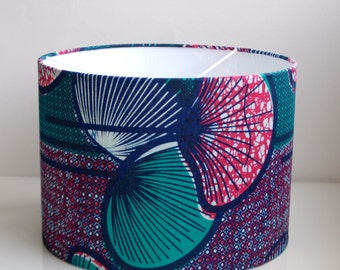 Blue,Pink,Green Flower/Graphic Lampshade- 100% African Wax Print Cotton-30cm Drum