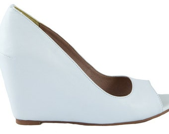 White Leather Ladies/Women's Wedge Shoes