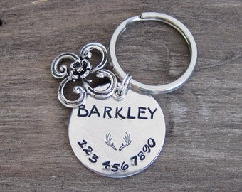 Large Pet ID Tag - Hand Stamped Aluminum with a Silver Flower Charm