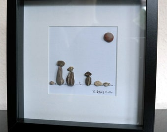 Image from pebbles - Pebble art - three cats, framed