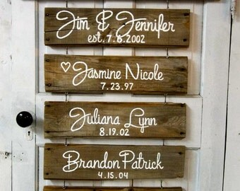 Rustic Custom Signs for Wedding, Anniversary family gift. All because two people fell in love.