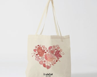 X143Y Tote bag love heart bird, cotton bag, canvas bag, handbag, tote bag, wedding bag, gift for lover, shopping bag