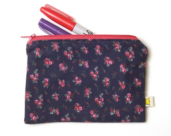 Rose zipper pouch, navy blue and pink cotton zippered pencil case