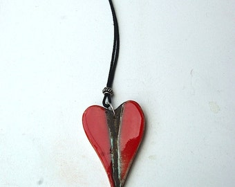 Red Heart Necklace ramina piece