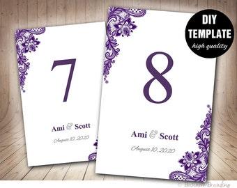 Purple Wedding Table Card,Purple Table Card Template,Aubergine Table Card Template Printable,Purple Table Numbers Template,Lace Table Card