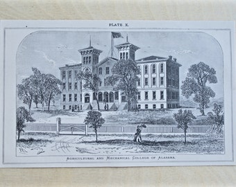 1876 - Auburn University -  Vintage Architecture Bookplate from 1876  - College Campus - SEC Footbal