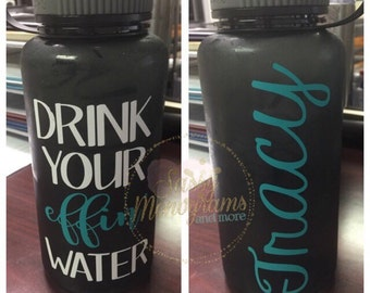 Drink Your Effin Water Personalized Water Tracker Wide Mouth Tritan Water Bottle 34 Oz ~ BPA Free ~ Drink Your Effing Water ~ W34EW