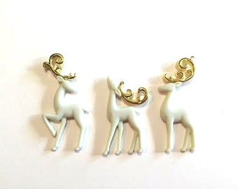 Christmas Reindeer Collection Assorted Embellishments Set of 3 Jesse James Buttons Majestic Reindeer Dress It Up Buttons Flat Back - 659 G
