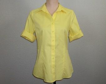 Womens Shirts Bright Yellow Blouse Casual Shirt Summer Top Casual Lemon Yellow Spring Coldwater Creek FREE SHIPPING XS Womens Clothing