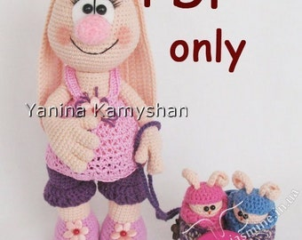 Pregnant Mommy Bunny, amigurumi crochet pattern