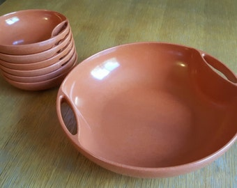 Set of Glow Copper Branchell Melmac Serving Bowl and 6 Small Bowls