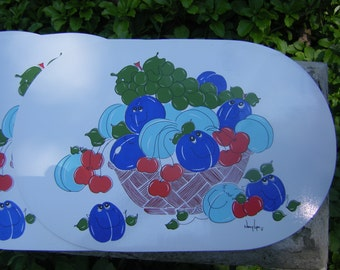 Nancy Lynn Smiling Fruit Vinyl Placemats Plums and Cherries 1960's Set of 4