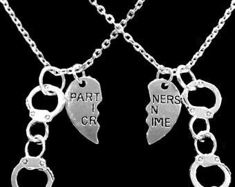 Best Friend Necklace, Best Friend Gift, Partners In Crime Necklace, Handcuff Split Heart Best Friend BFF Sisters Necklace Set