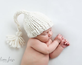 Newborn Photography Prop, Knit Baby Hat, Photo Prop Fisherman- Gardenia Hat