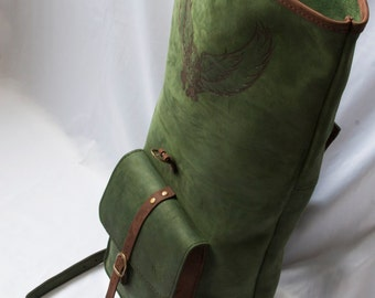 Canvas backpack -- roll top -- loptop rucksack -- leather backpack -- travel backpack -- carry all bag -- green bag -- brown leather