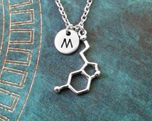 Serotonin Necklace Serotonin Jewelry Chemistry Jewelry Chemist Necklace Happiness Necklace Depression Gift Biochemistry Molecule Science