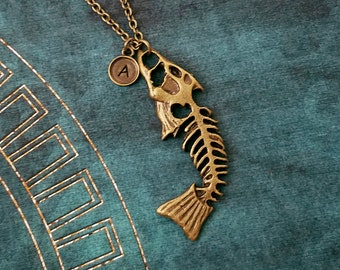 Fishbones Necklace LARGE Fish Bones Necklace Fish Fossil Necklace Dead Fish Necklace Personalized Jewelry Initial Necklace Pendant Charm