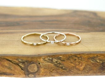 14KT Gold Single CZ Eternity Wedding Band Ring