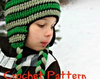 DIGITAL CROCHET PATTERN: Emory's Hat Crochet Pom Pom Earflap Hat  - 9 sizes  Permission to Sell finished items, Crochet Beanie Pattern