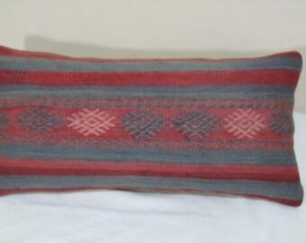 "turkish kilim pillow cover10""x20""kilim pillow-vintage pillow"