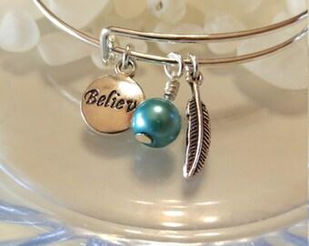 BELIEVE charm, Feather charm bracelet, Blue Pearl Charms, Expandable bangle, Adjustable bangle