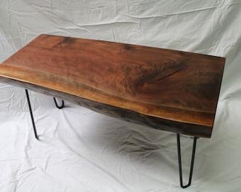 Walnut Coffee Table Live Edge Slab with Hairpin Legs
