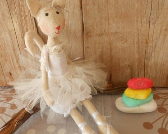 Cat Toy - Cat Stuffed Animal - Cat Plushie - Cat ballerina Toy - Ballerina Stuffed Animals - Handmade Stuffed Animal - Ballerina doll