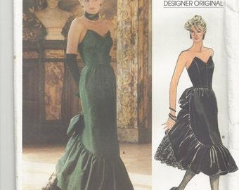 1970s Vogue Pattern Designer Original 1471 Beville Sassoon Formal Dress Full Length Skirt Formal Strapless Women's Vintage Sewing Pattern