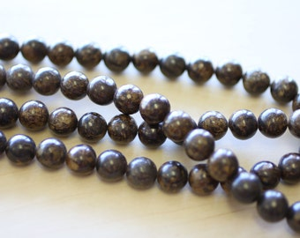 10 MM Natural Bronzite Beads