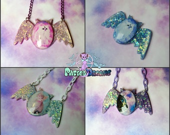 bat cat frame necklace Pastel Goth, Soft Grunge, kawaii,soft grunge, lolita,harajuku,fairy kei