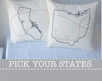 Connecting States Ohio California with Hearts Embroidered Custom Decorative Housewarming Throw Pillow Cover Set  New York Texas