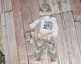 Newborn Coming Home Baby Deer Antlers/Horns Bodysuit, Hat, Scratch Mittens Set with Grey and Arrows+ Hello World Bodysuit